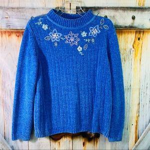 NWOT Vtg Alfred Dunner Fuzzy Chenille Sweater M